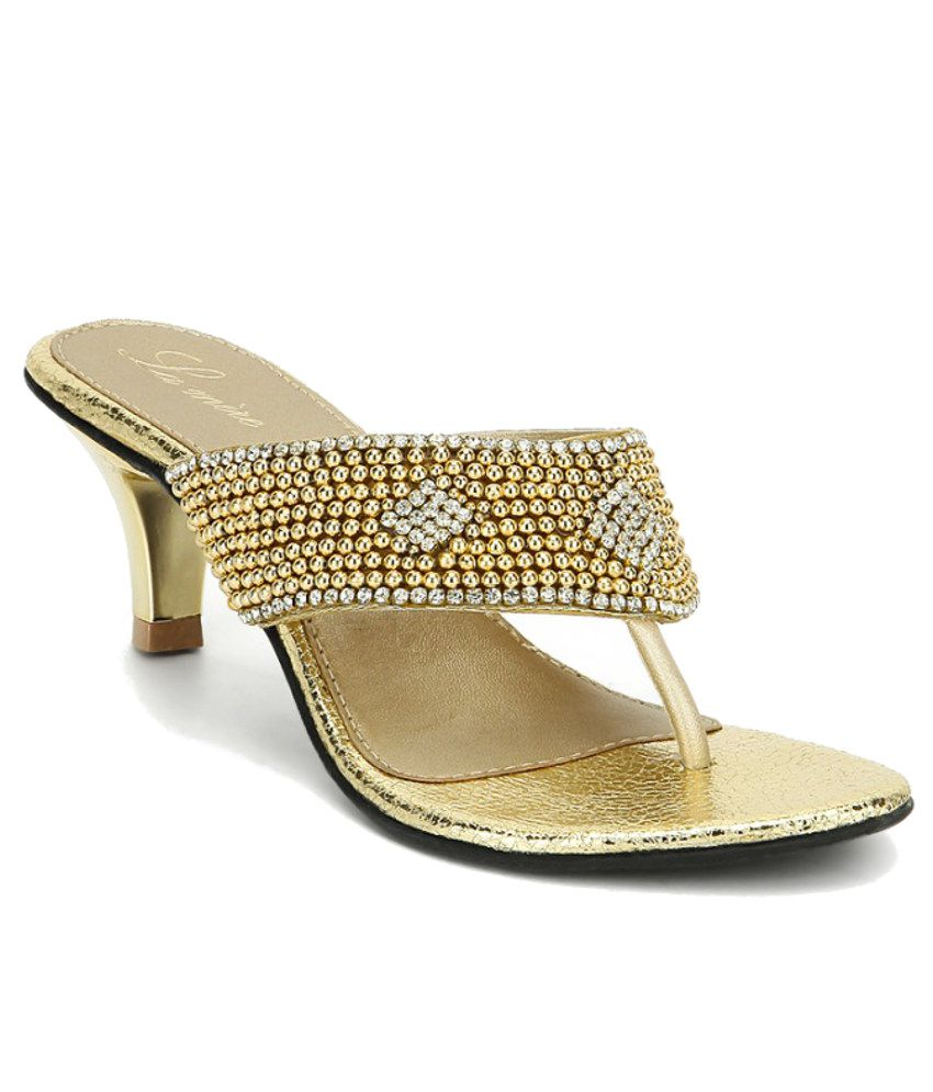 Lamere Sophisticated Gold Heeled Slip Ons