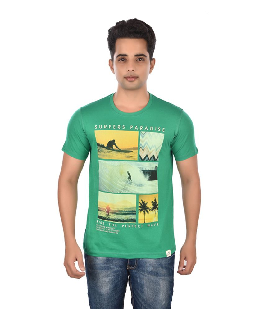 Rockstar Jeans Green Cotton Printed T-Shirt