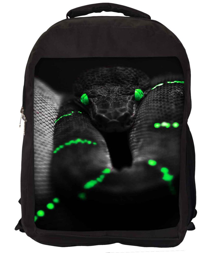 Snoogg Black and Green Nylon Laptop Backpack