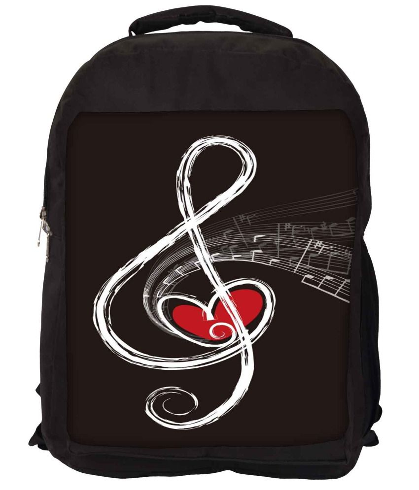 Snoogg Black and White Nylon Laptop Backpack