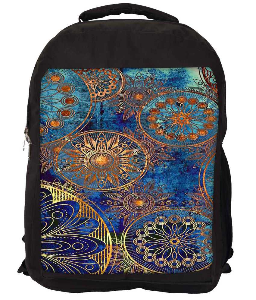 Snoogg Blue and Brown Nylon Laptop Backpack