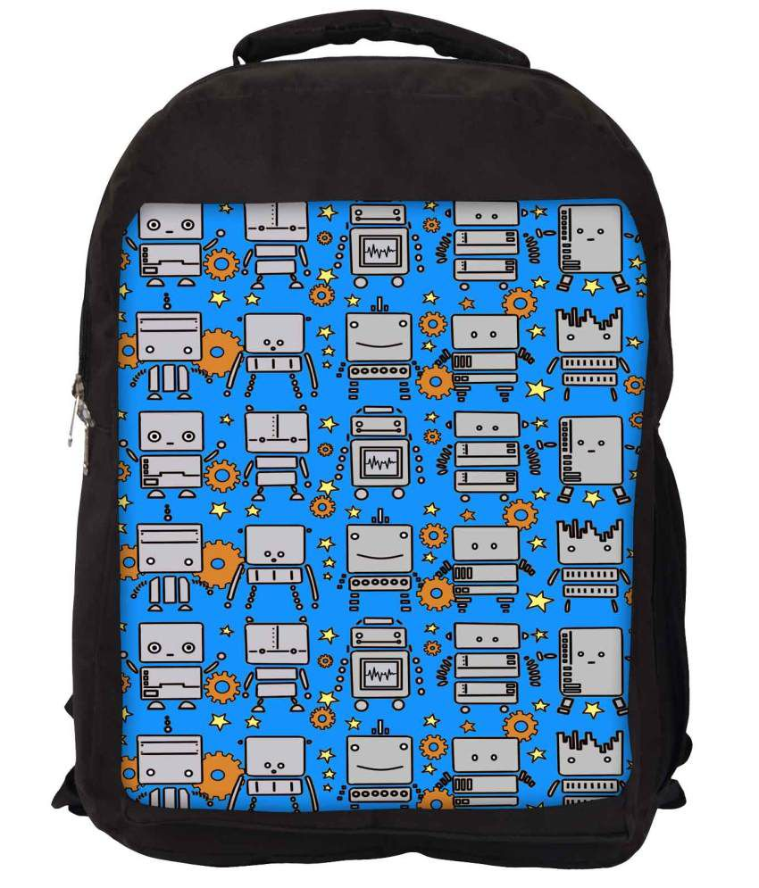 Snoogg Blue and Grey Nylon Laptop Backpack