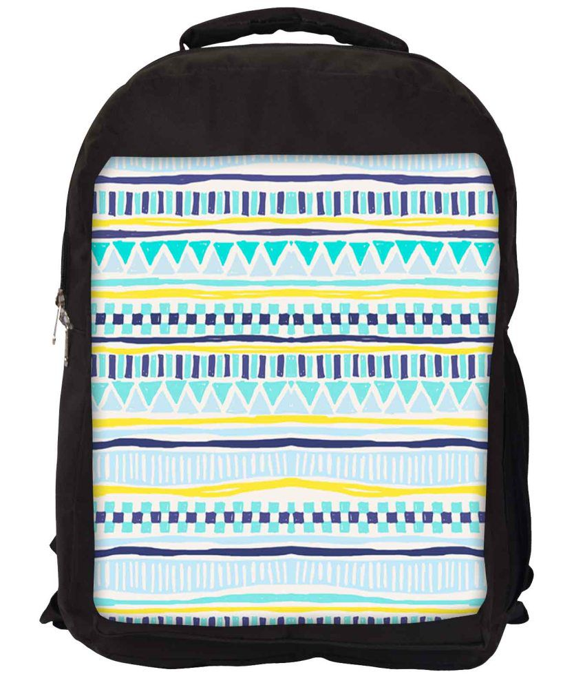Snoogg Green and Blue Nylon Laptop Backpack