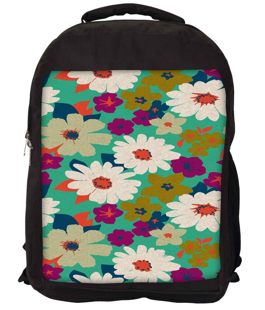 Snoogg Green and Purple Nylon Laptop Backpack