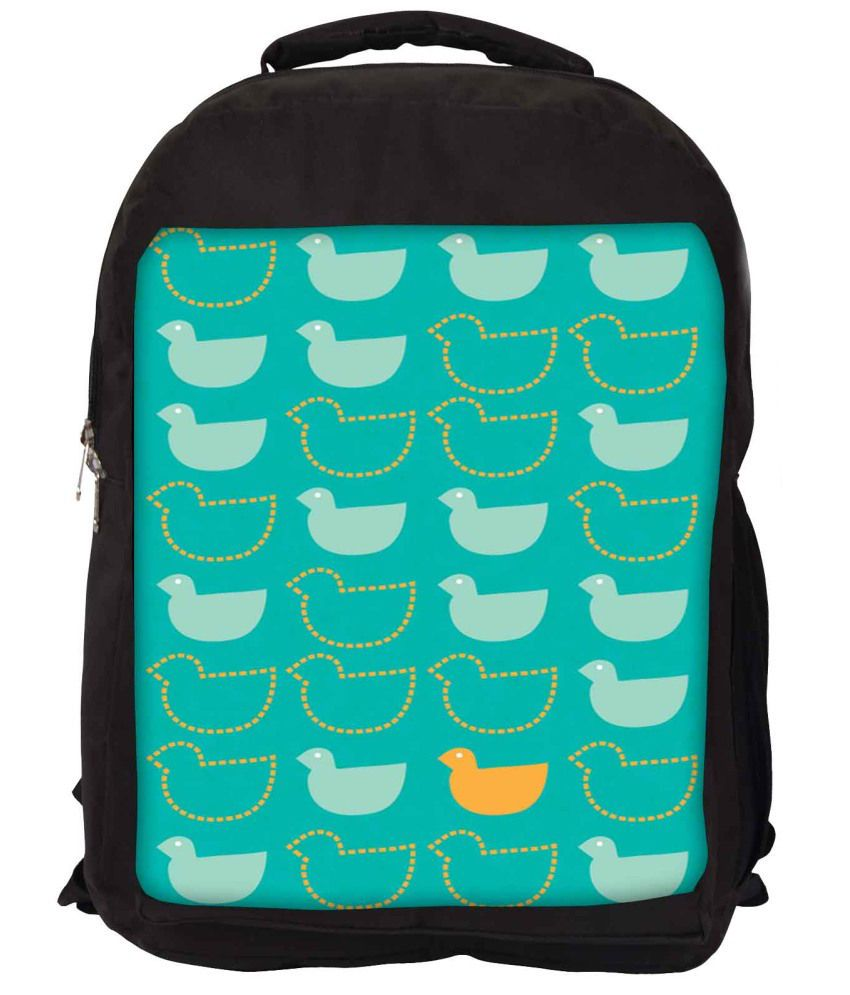 Snoogg Green and Yellow Nylon Laptop Backpack