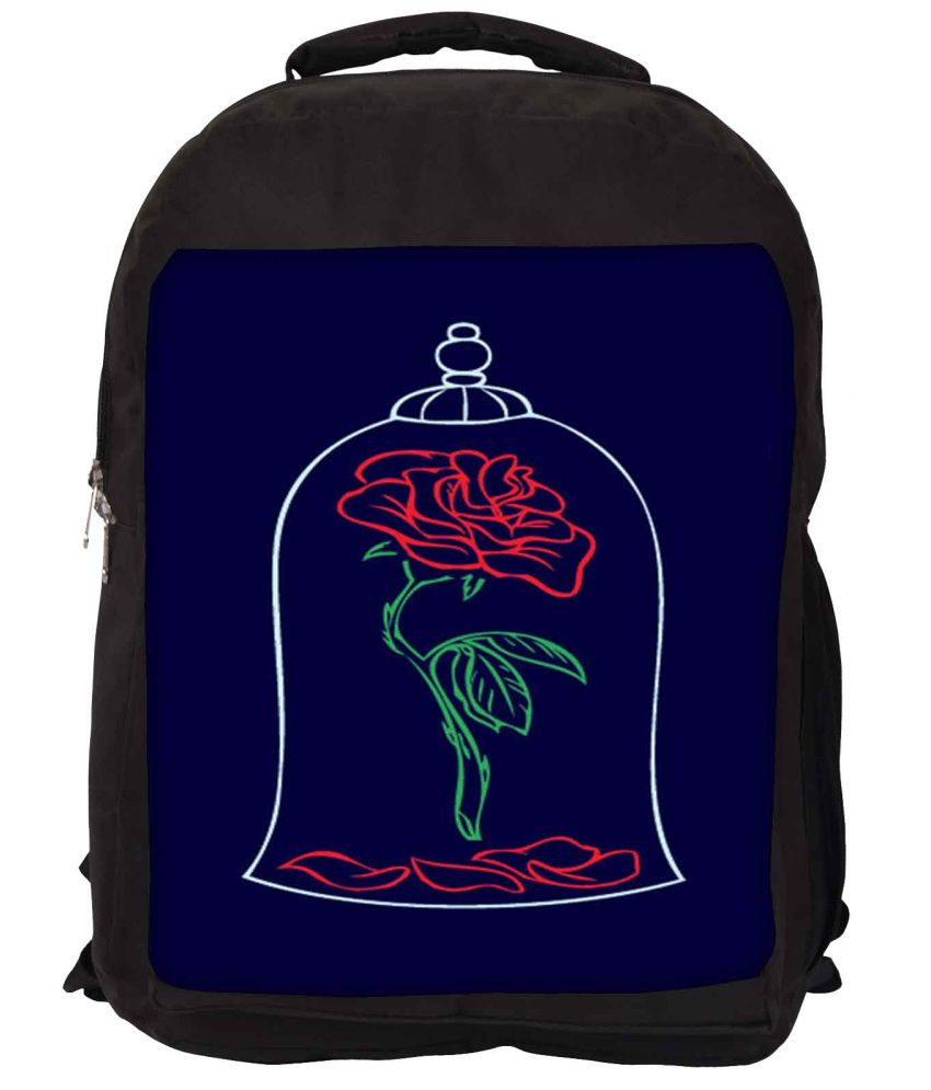 Snoogg Navy and Red Nylon Laptop Backpack