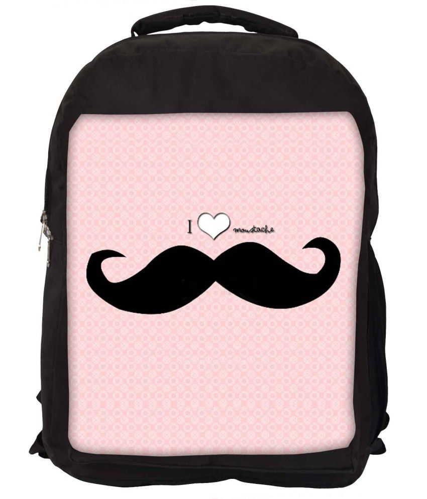 Snoogg Pink and Black Nylon Laptop Backpack