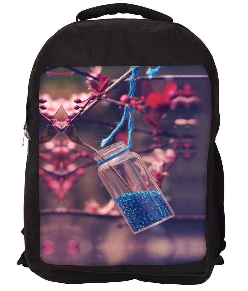 Snoogg Pink and Blue Nylon Laptop Backpack