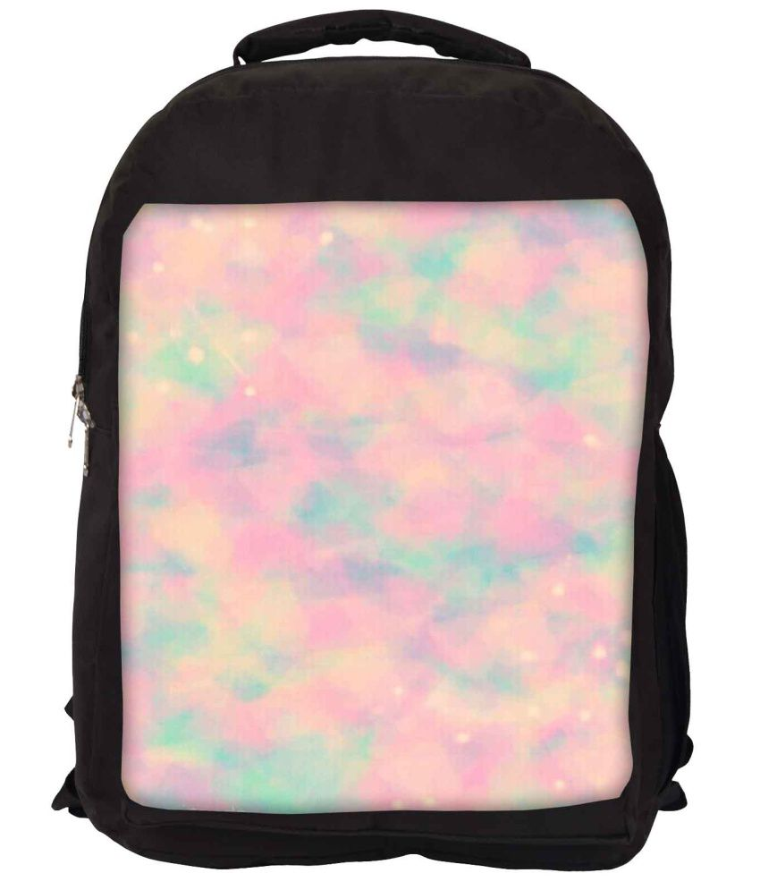 Snoogg Pink and Green Nylon Laptop Backpack