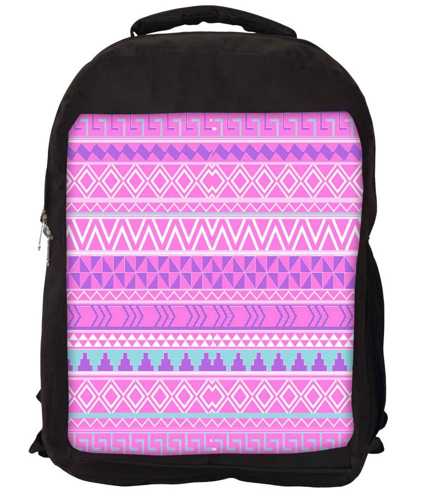 Snoogg Pink and Purple Nylon Laptop Backpack