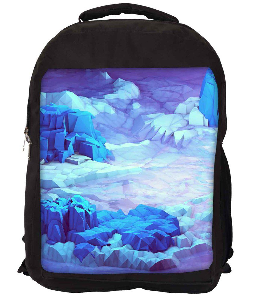 Snoogg Purple and Blue Nylon Laptop Backpack
