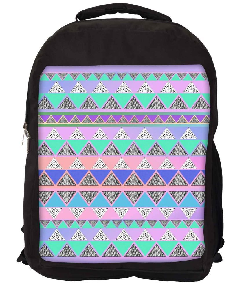 Snoogg Purple and Green Nylon Laptop Backpack