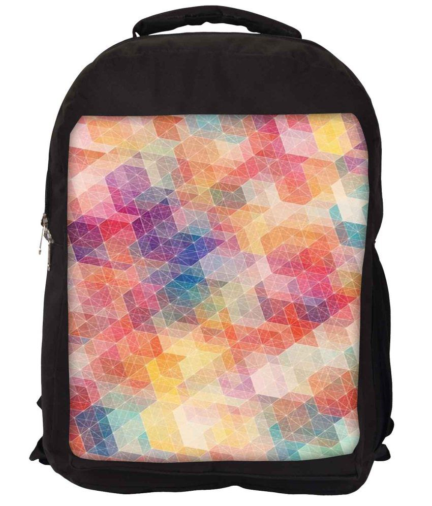 Snoogg Purple and Orange Nylon Laptop Backpack