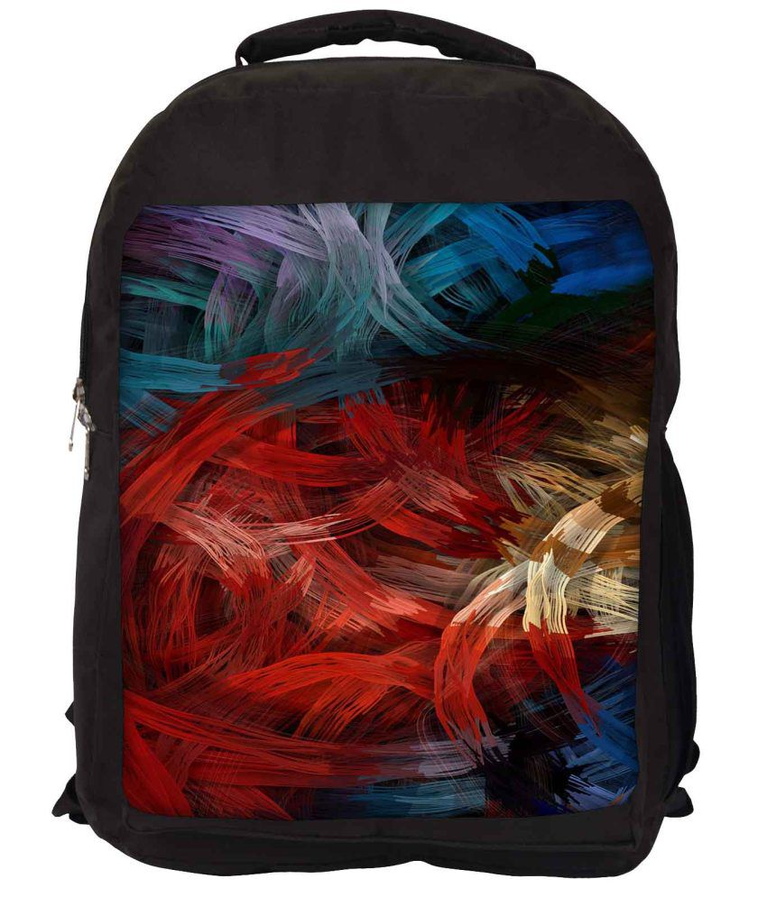 Snoogg Red and Blue Nylon Laptop Backpack