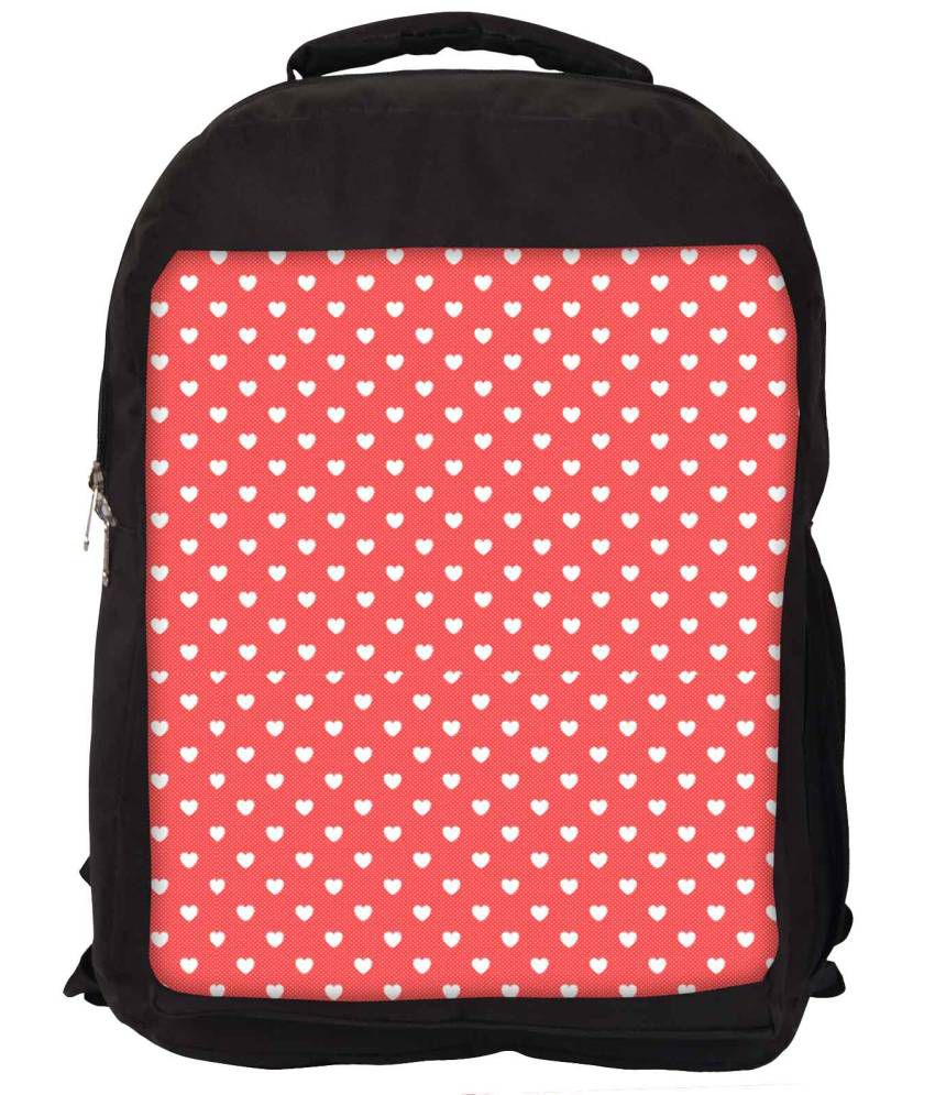 Snoogg Red and White Nylon Laptop Backpack