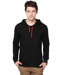 INKOVY Black Cotton Hooded T-shirt