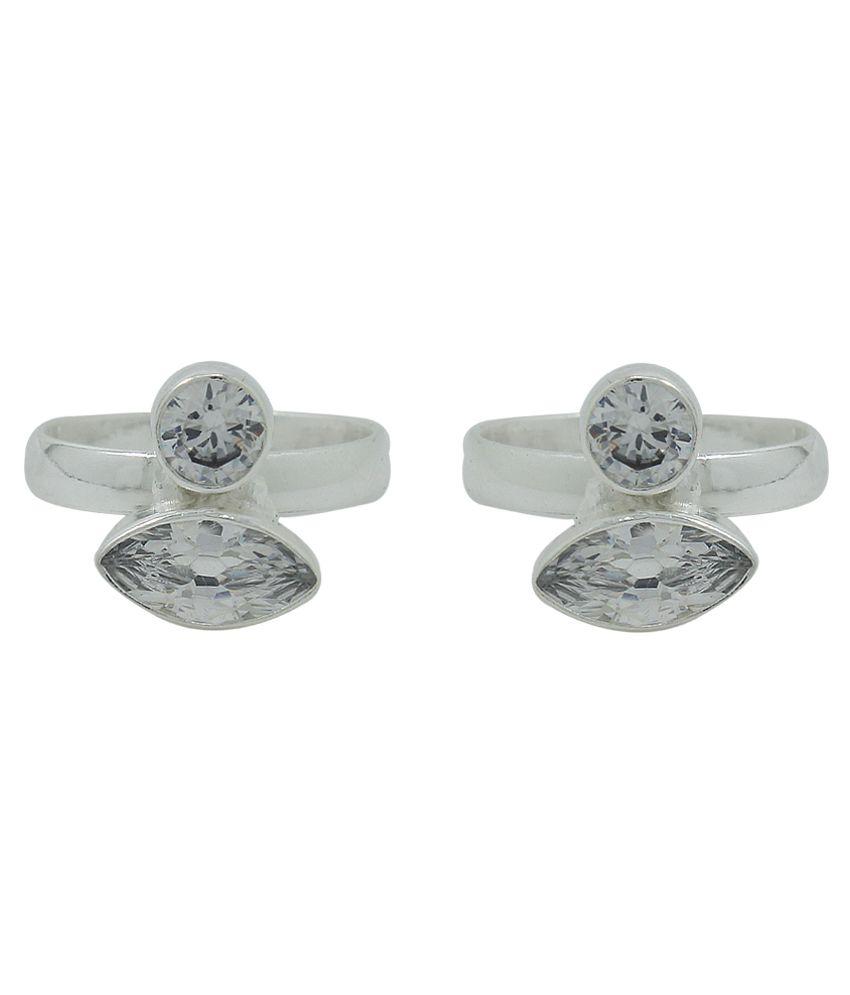 Frabjous White Designer Toe-ring