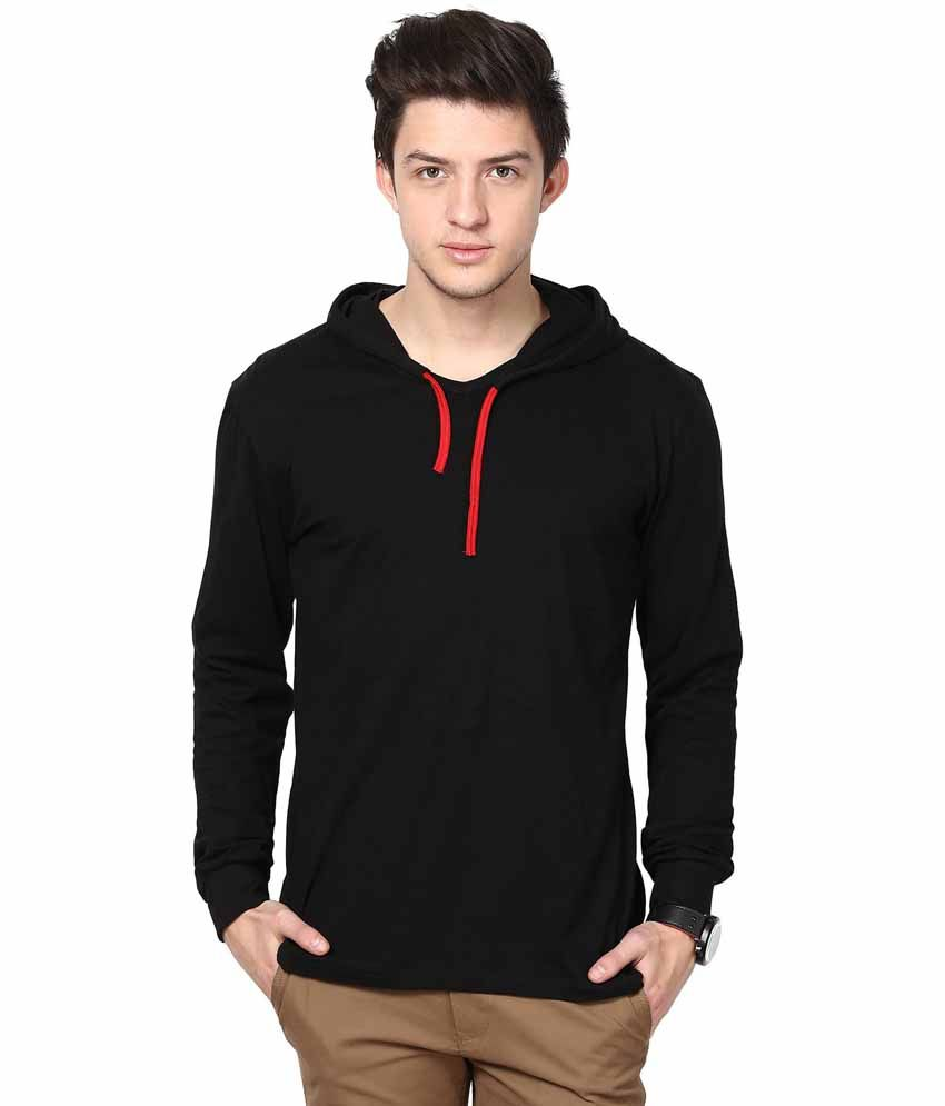 Black t shirt buy online - Inkovy Black Cotton Hooded T Shirt