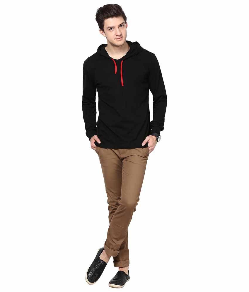 Black t shirt low price -  Inkovy Black Cotton Hooded T Shirt