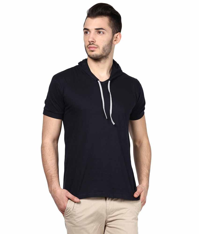 INKOVY Navy Cotton Hooded T-shirt