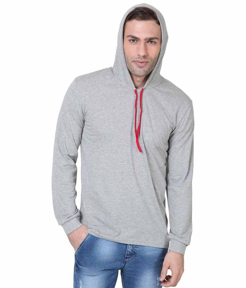IZINC Grey Cotton Hooded T-shirt