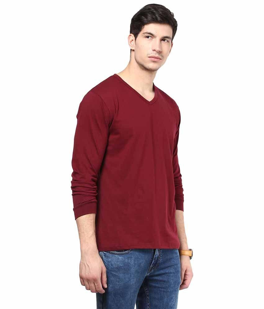 IZINC Maroon Cotton T-shirt