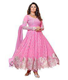 K.C. Pink Georgette Anarkali Semi-Stitched Suit