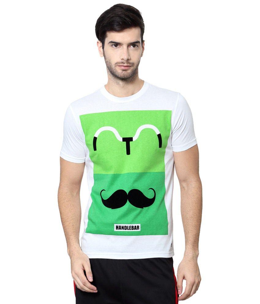 Ajile by Pantaloons White & Green Printed Activewear T Shirt
