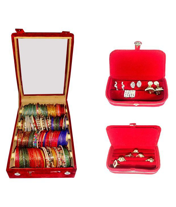 Atorakushon Combo Deal 4 Roll Rod Bangles Box With Clear Plastic 1 Earring Box Ring 1 Ring Box Jewelry Case