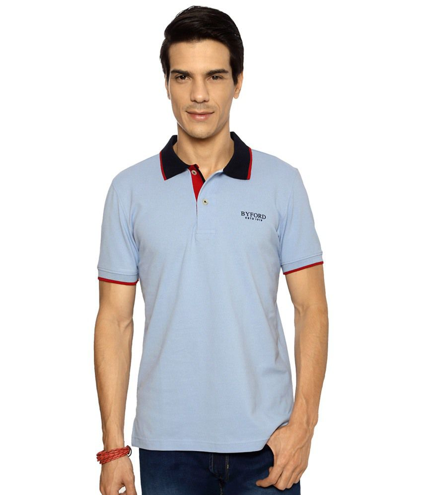 Byford by Pantaloons Blue Solid Activewear Polo T Shirt