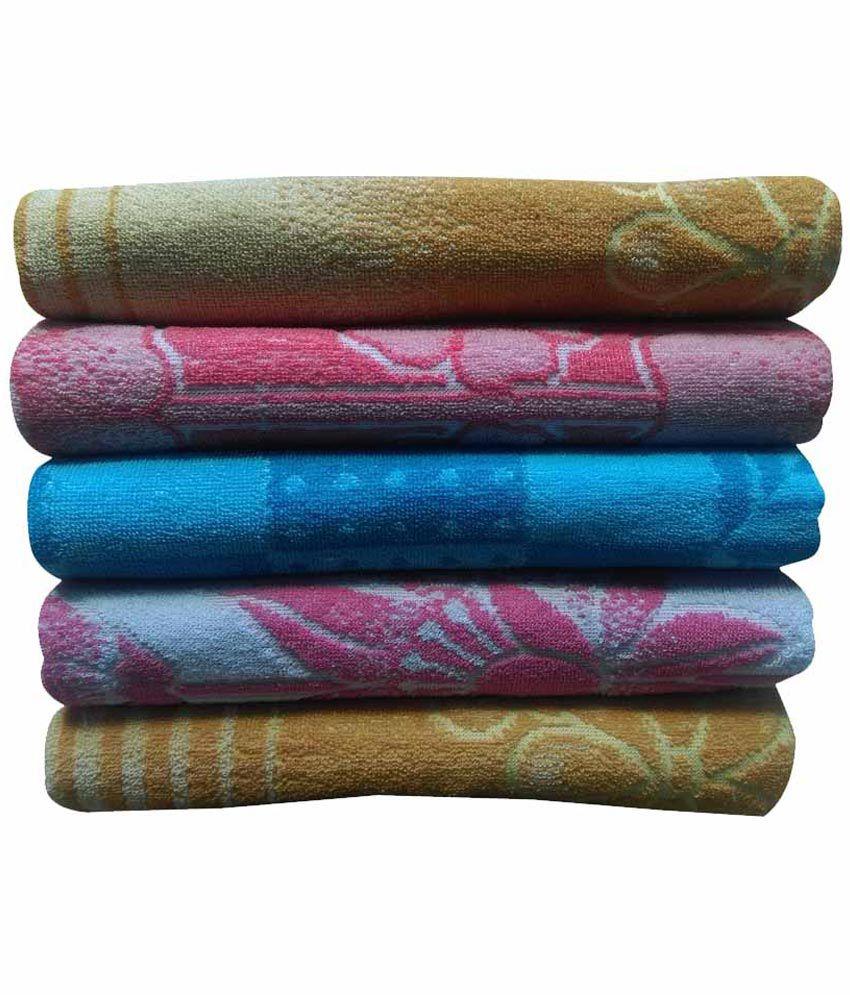 R B Set of 5 Cotton Bath Towel - Multi Color