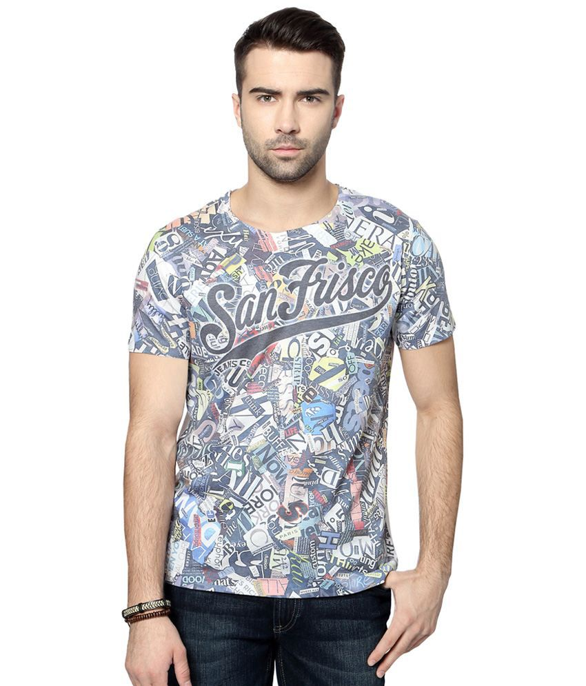 SF Jeans by Pantaloons White & Blue Printed Activewear T Shirt