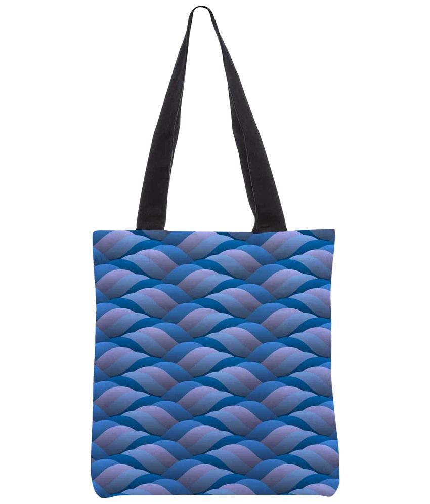 Snoogg Blue & Pink Polyester Unisex Tote Bag