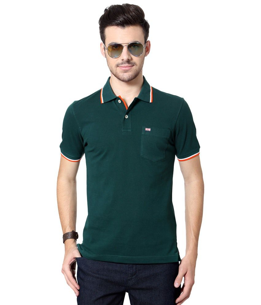 Byford by Pantaloons Green Solid Casual Polo T Shirt