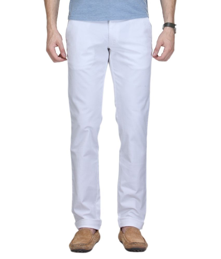Clydesdale White Cotton Slim Fit Trousers