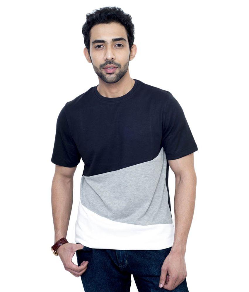 Fabnavitas Black Cotton Half Sleeves Round Neck T Shirt