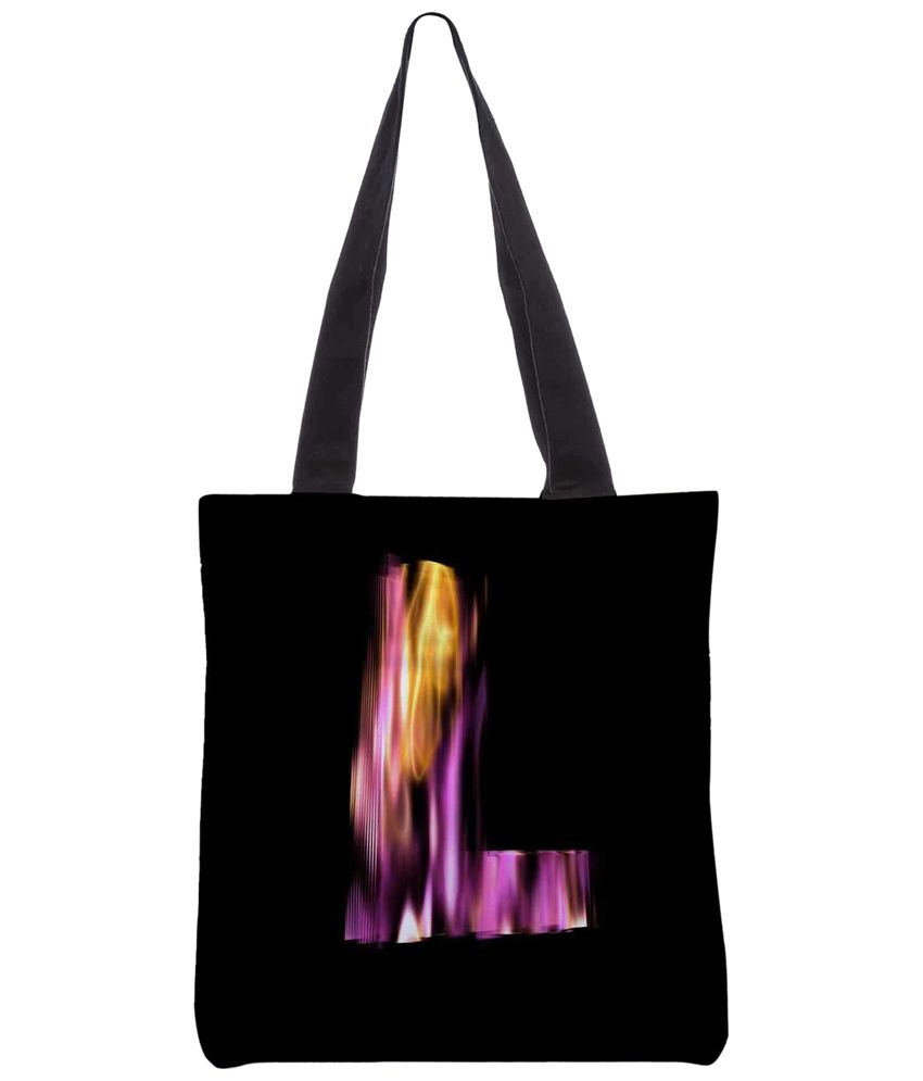 Snoogg Black & Pink Polyester Unisex Tote Bag