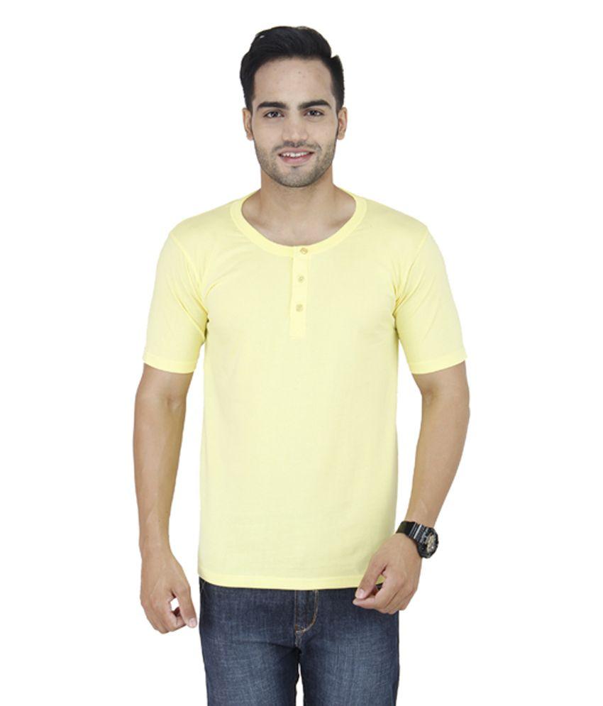 Stylogue Yellow Cotton Blend Henley Neck T-Shirt