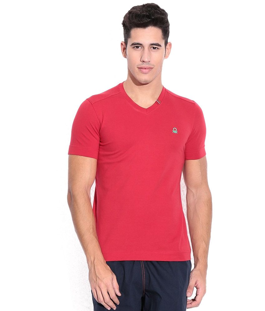 United Colors Of Benetton Red Cotton Blend T-Shirt