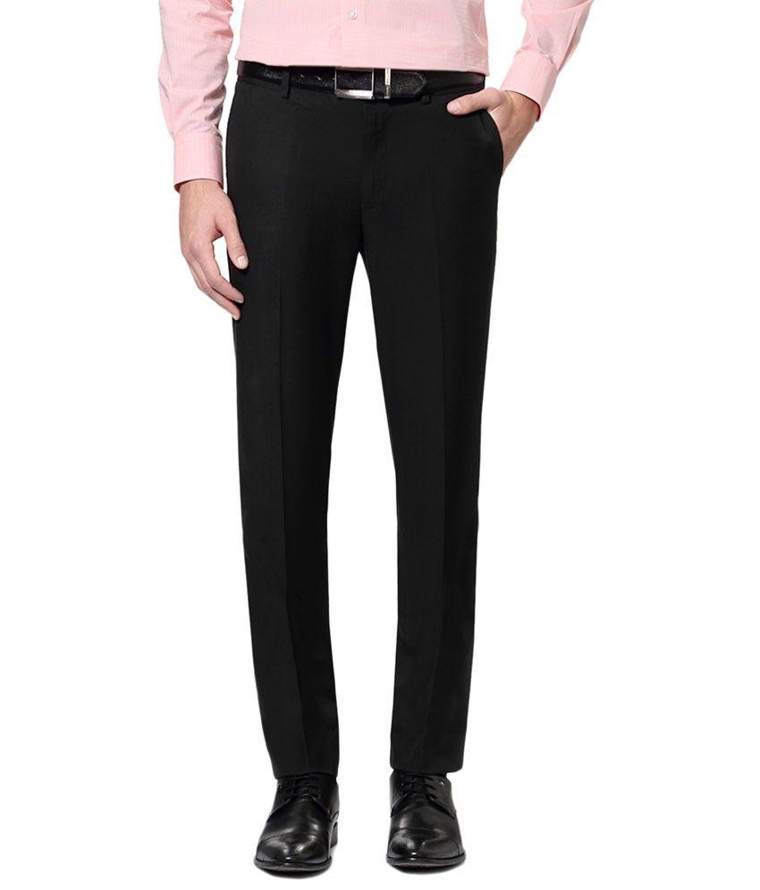 Van Heusen Black Solid Formal Trousers