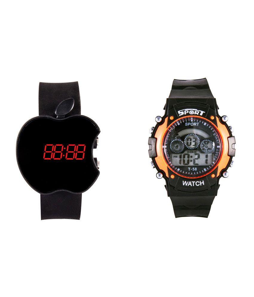 viscao multicolor designer digital watches pack of 2