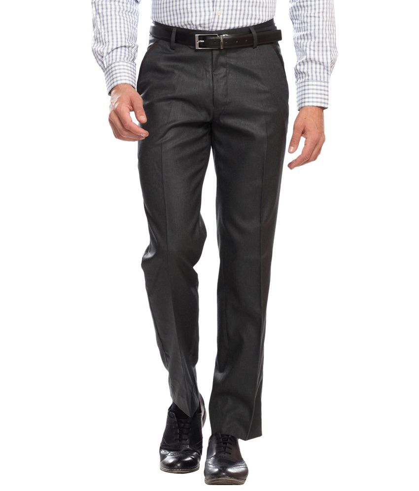 Clydesdale Black Slim Fit Formal Flat Trouser