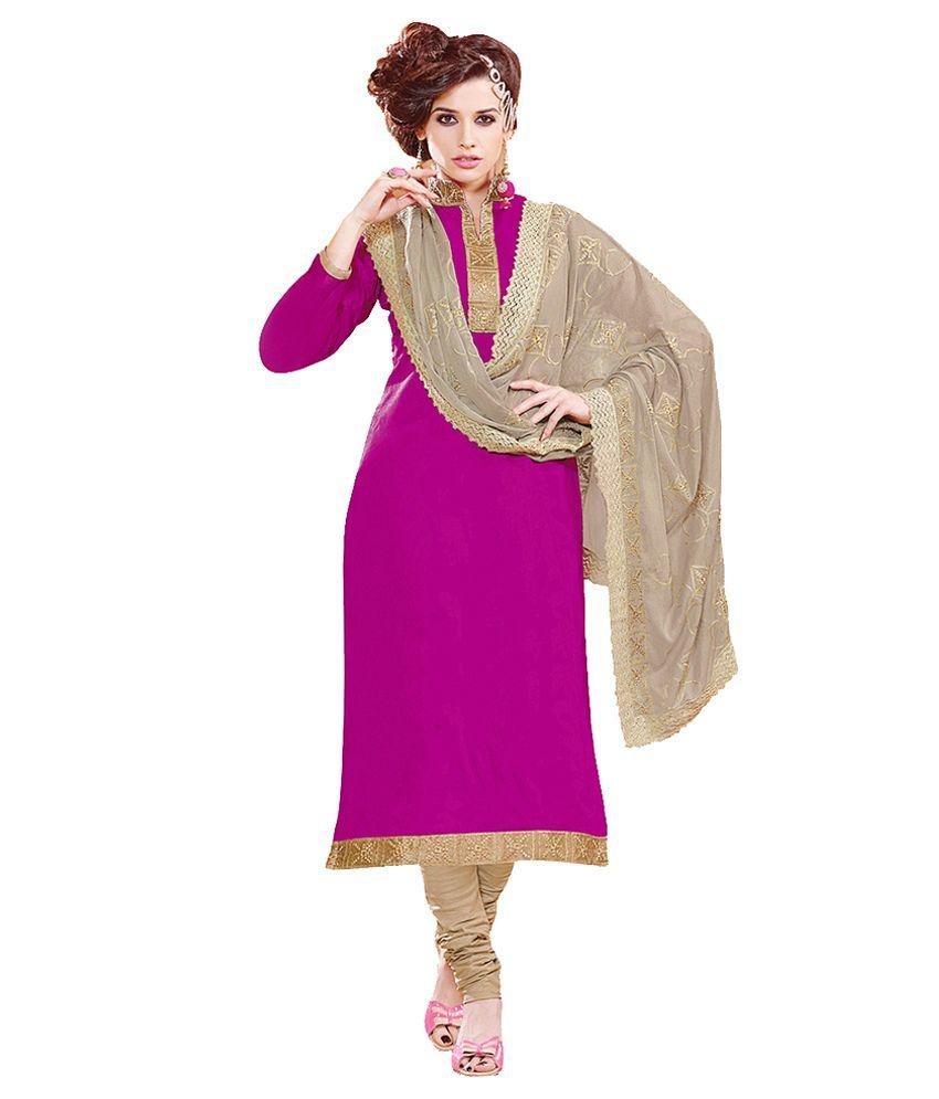 Jiya Purple Chanderi Unstitched Dress Material
