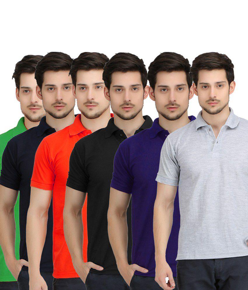 Krazy Katz Multicolour Cotton Polo T-shirts - Pack Of 6