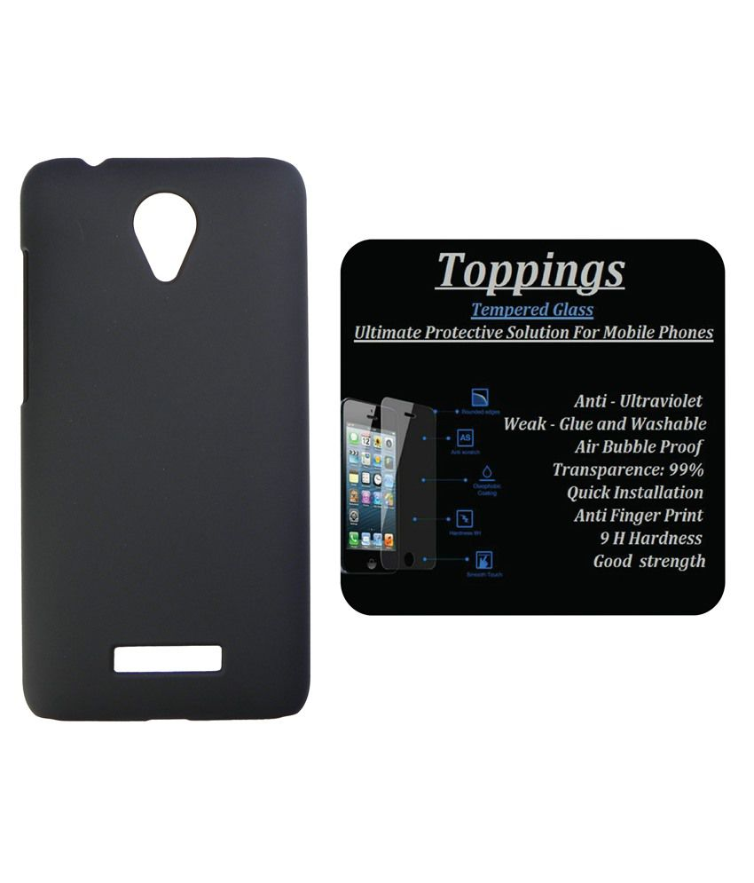 Toppings Back Cover For Micromax Canvas Spark Q380-Black With Tempered Screen Guard