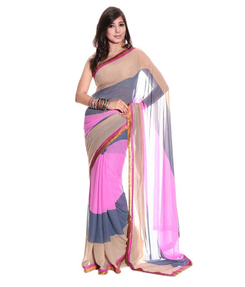 Aaditri Fashions Multicoloured Chiffon Saree