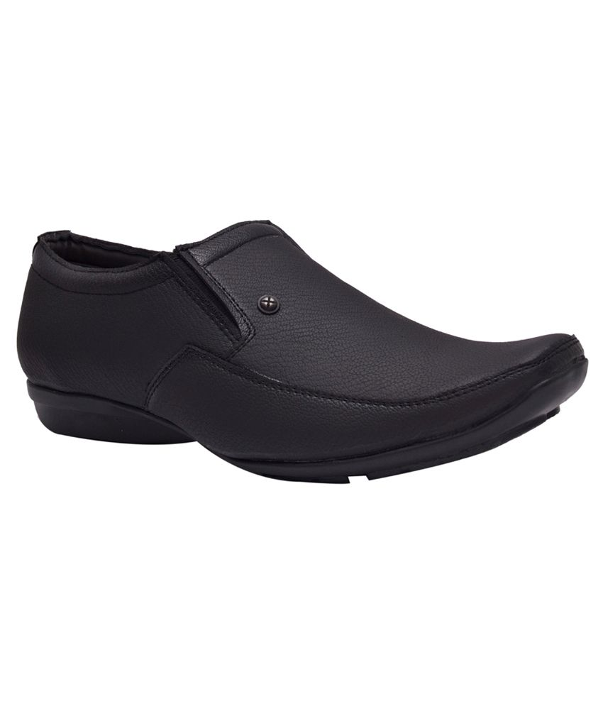 Elixir Man Black Slip On Artificial Leather Formal Shoes