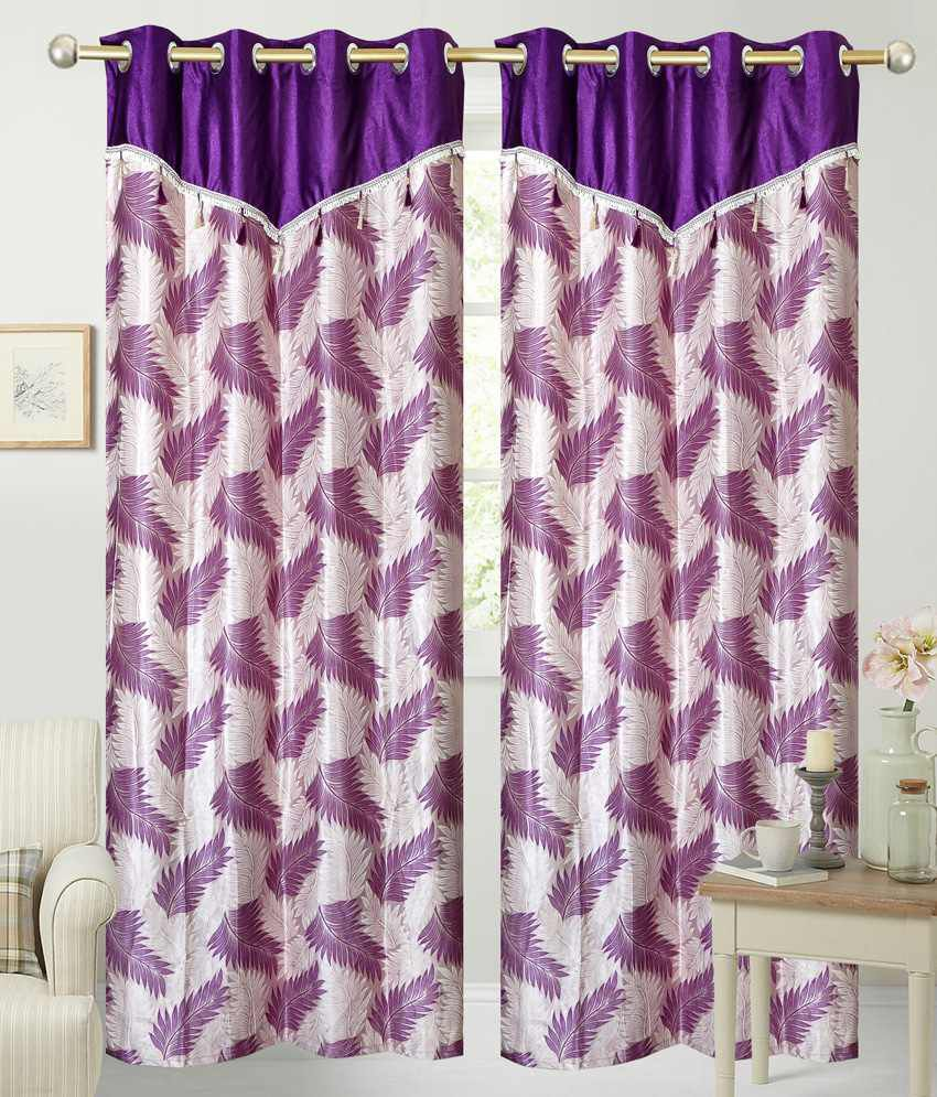 Fresh From Loom Set of 2 Door Eyelet Curtains Floral Beige