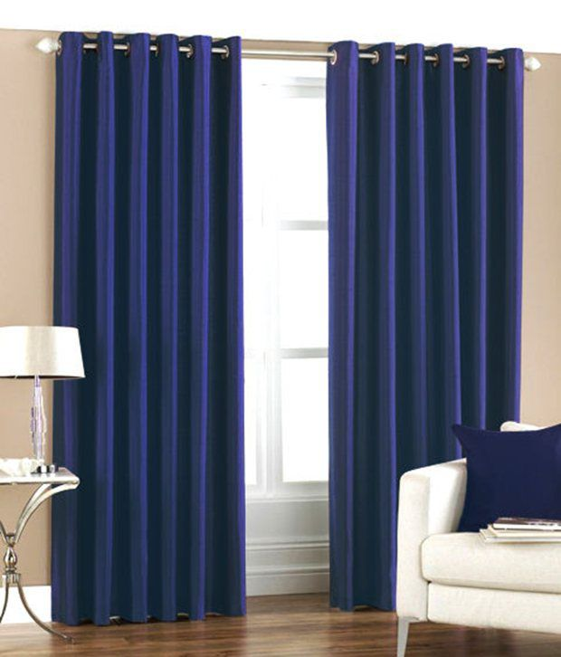 Homefab India Set of 2 Window Eyelet Curtains Solid Blue