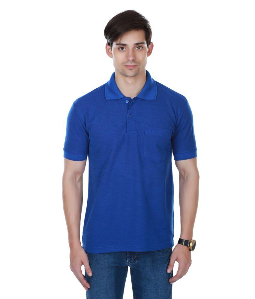 Cotton County Premium Blue Polyester Polo T-Shirt